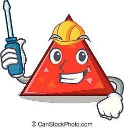 automotor, triangel, mascota, estilo, caricatura