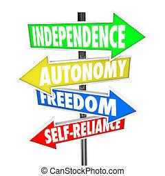 autonómia, szabadság, nyílvesszö, aláír, út, self-reliance,...