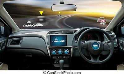 autonom, fahren, auto, und, digital, geschwindigkeitsmesser,...