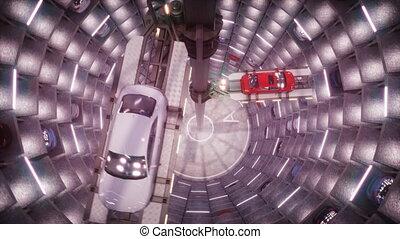 Autonome robotic Car Parking, new technology of car parking. Cars moving inside circle parking