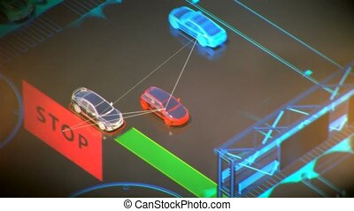 autonome transportation system concept, smart city, Internet...
