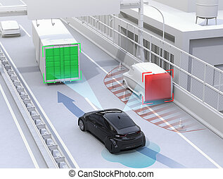 Autonomous car changing lane quickly to avoid a traffic...