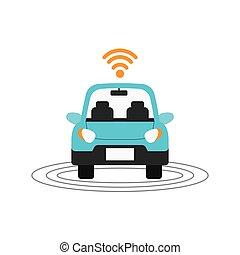 Autonomous car design - autonomous car with wireless icon...