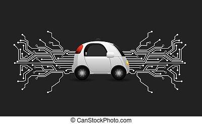 autonomous car design - autonomous car vehicle with circuit...