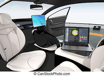 Autonomous car interior design. Concept for new business...