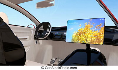Autonomous car interior. Foldable monitor on the front seat...