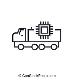 autonomous car linear icon, sign, symbol, vector on isolated background