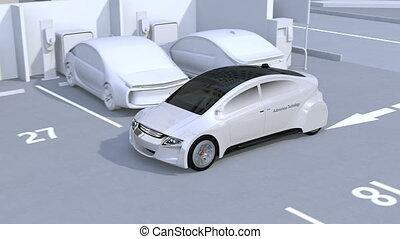 Autonomous car parking by intelligent parking assist system. 3D rendering animation.