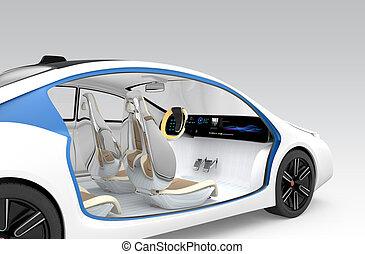 Autonomous car's interior concept. The car offer folding...