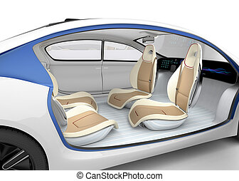Autonomous car's interior concept. The car offer folding...