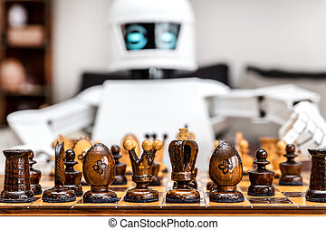 cyborg or roboter is playing chess