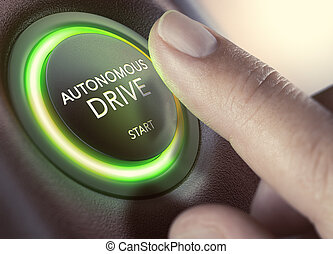 Autonomous Drive, Self-Driving Vehicle - Finger pressing a...