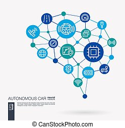 Autonomous electric car, self-driving, autopilot integrated business vector icons. Digital mesh smart brain idea. Futuristic interact neural network grid connect.