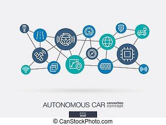 Autonomous electric car, self-driving, autopilot integrated business vector icons. Digital smart mesh idea. Futuristic interact neural network grid connect.