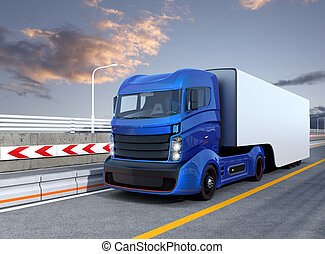 Autonomous hybrid truck on highway - Autonomous hybrid truck...