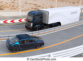Autonomous hybrid truck on highway - Hybrid electric truck...