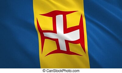 Autonomous Region of Madeira - Waving Flag Video Background FullHD