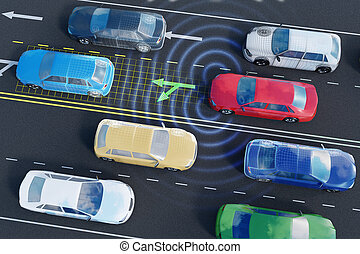Autonomous self-driving car is analyzing traffic situation on the road with sensors and artificial intelligence.