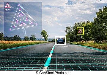 Autonomous self-driving car is recognizing road signs....