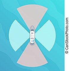 Autonomous ship with radar top view. Self driving boat concept.