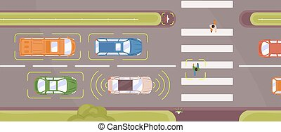 Autonomous smart car scans road top view vector flat ...