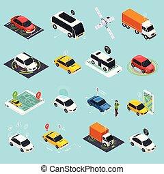 Autonomous Vehicle Isometric Icons Set - Autonomous vehicle ...