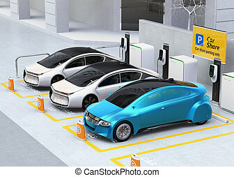 Autonomous vehicles in parking lot for sharing. Car sharing...