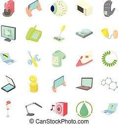 Autonomy icons set, cartoon style - Autonomy icons set. ...