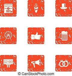 Autonomy icons set, grunge style - Autonomy icons set. ...