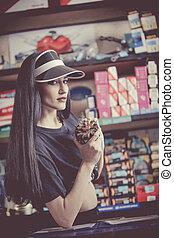 autoparts, le, disk, saleswoman, shop.