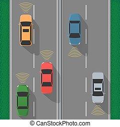 Autopilot concept in flat style.