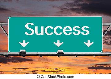 autopista, a, éxito, muestra del camino