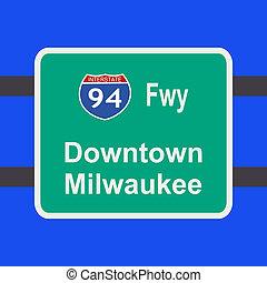 autopista, a, milwaukee, señal