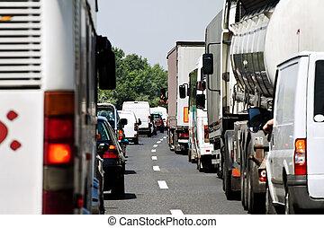 autopista, atasco, tráfico