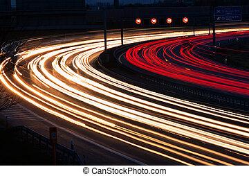 autopista, coches, noche