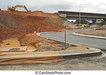 autopista, construcción, empalme