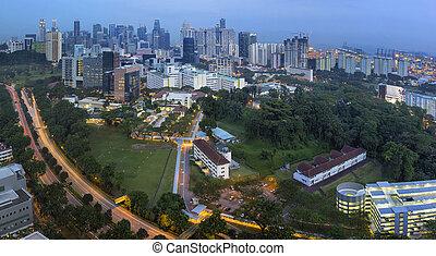 autopista, contorno, anochecer, central, singapur