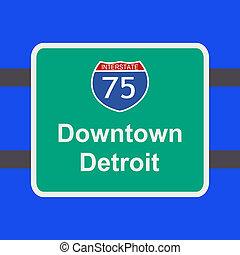 autopista, detroit, señal