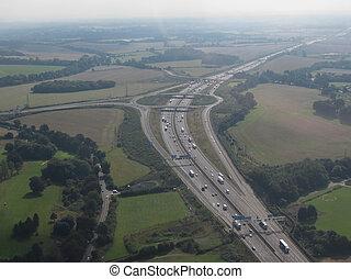 autopista, empalme, indirecto