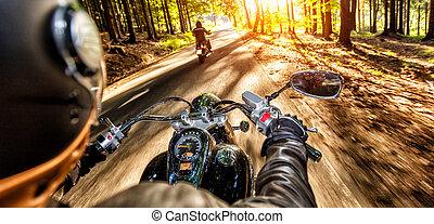 autopista, equitación, conductores, motocicleta