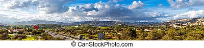 autopista, highway., chipre, a1, locally, referred, vista, ...