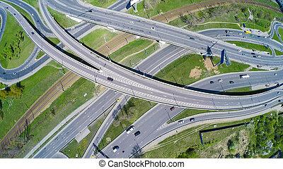 autopista, intersección, vista aérea