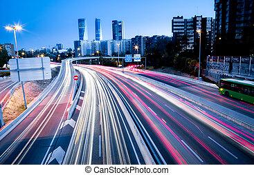 autopista, luces, cola, tráfico, confuso