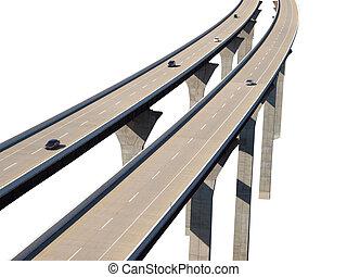 autopista, puente, coches, aislamiento