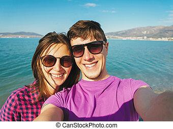 autoportrait, amour, couple, plage, prendre, heureux