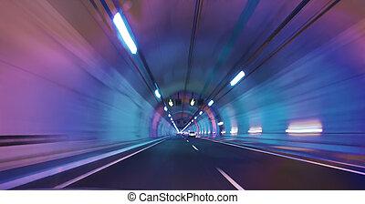 autorail, tunnel, lumière, moderne, nuances, long