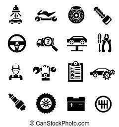 autoreparatie, black , iconen