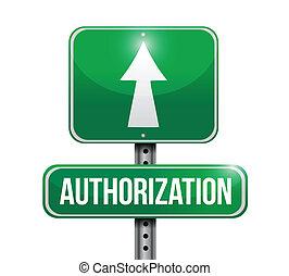 autorização, desenho, estrada, ilustração, sinal