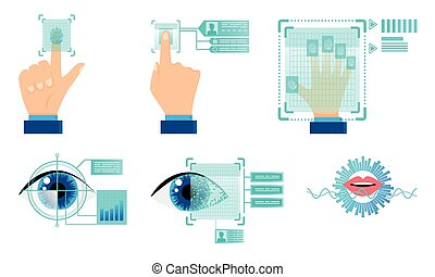 Autorization technologies with finger print and eye scanning vector illustration