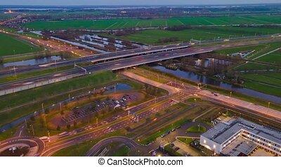 autoroute, amsterdam, autoroute, crépuscule, netherlands., europe., entre, vinkeveen, nuit, utrecht, infrastructure, hyperlapse, a2, aérien, timelapse